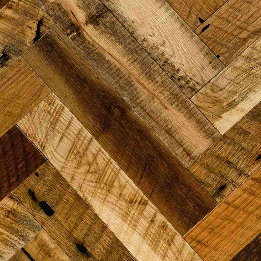 Reclaimed Oak Herringbone Hardwood